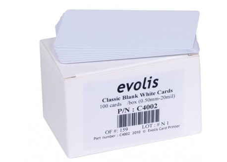 100 cartes PVC blanches fines